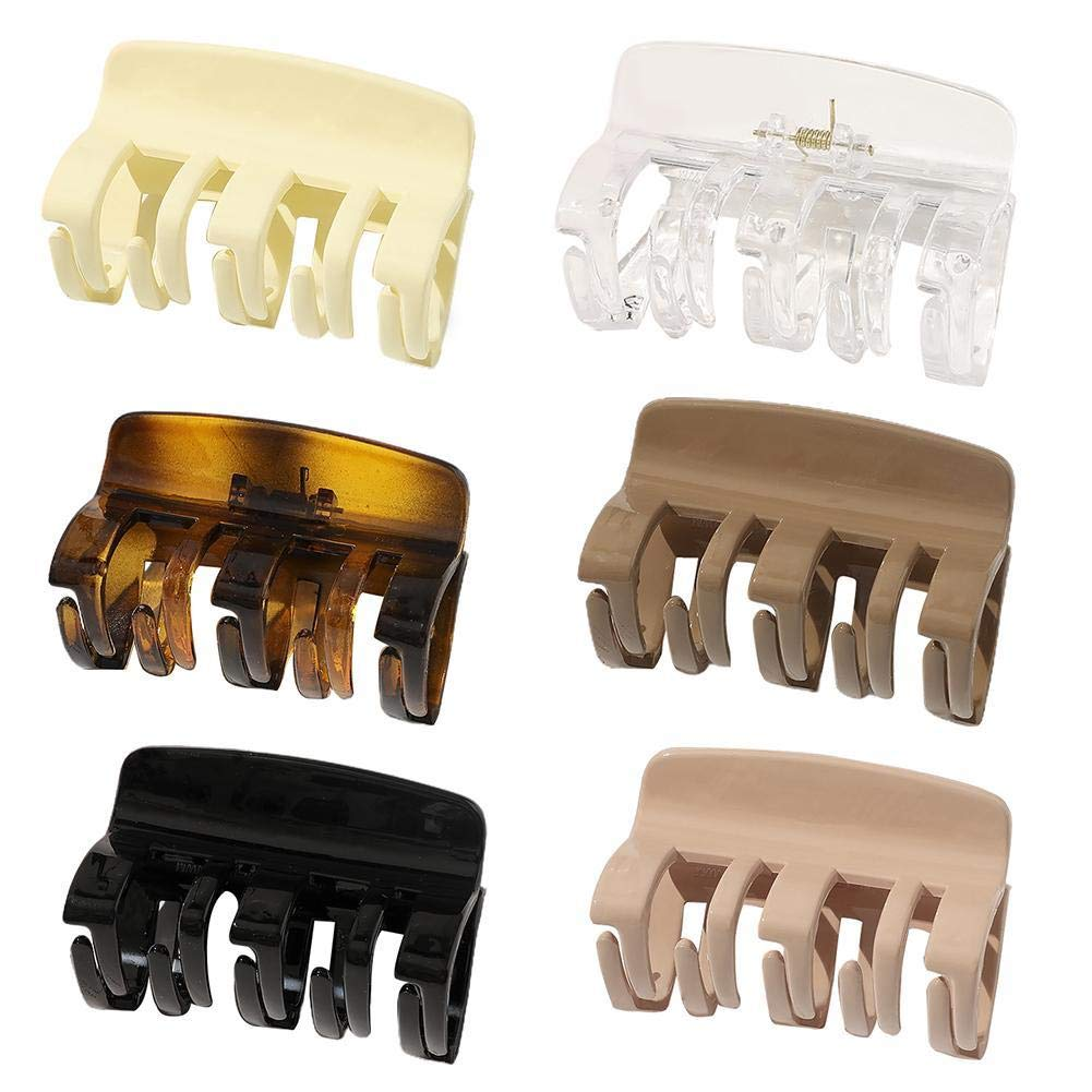 Large Hair Clips Jumbo Jaw Clips Strong Holding Hair Claw Clips Crystal Plastic Hair Claw Clips for Women with Thick Hair, Black, and Brown
