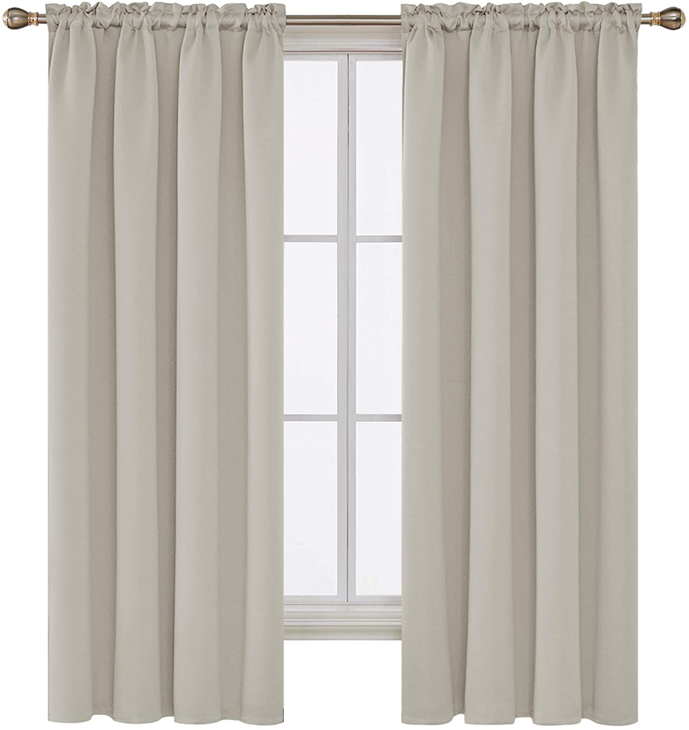 Deconovo Blackout Curtains Room Darkening Drapes and Window Curtains for Nursery 42W x 72L Inch Light Beige 2 Panels