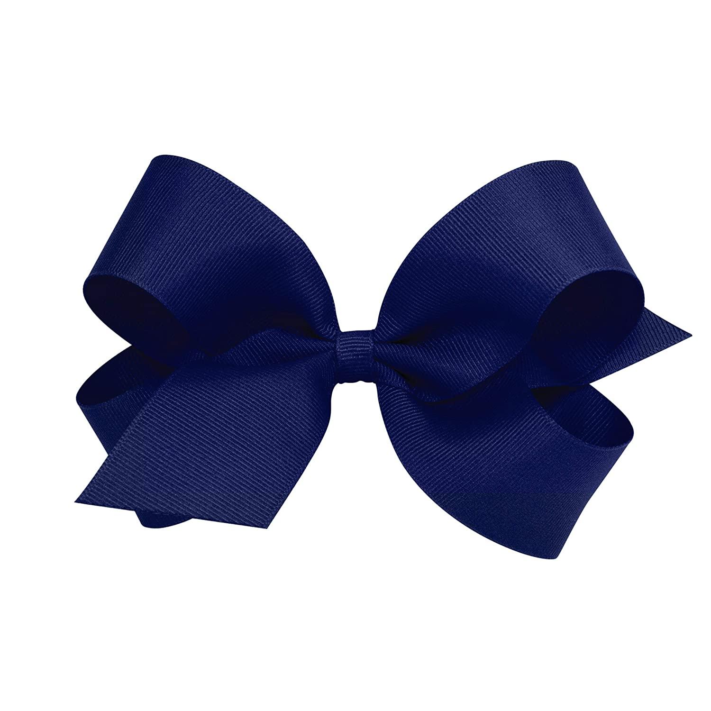 Wee Ones Girl's Large Grosgrain Hair Bow on No Slip Clip - Light Navy