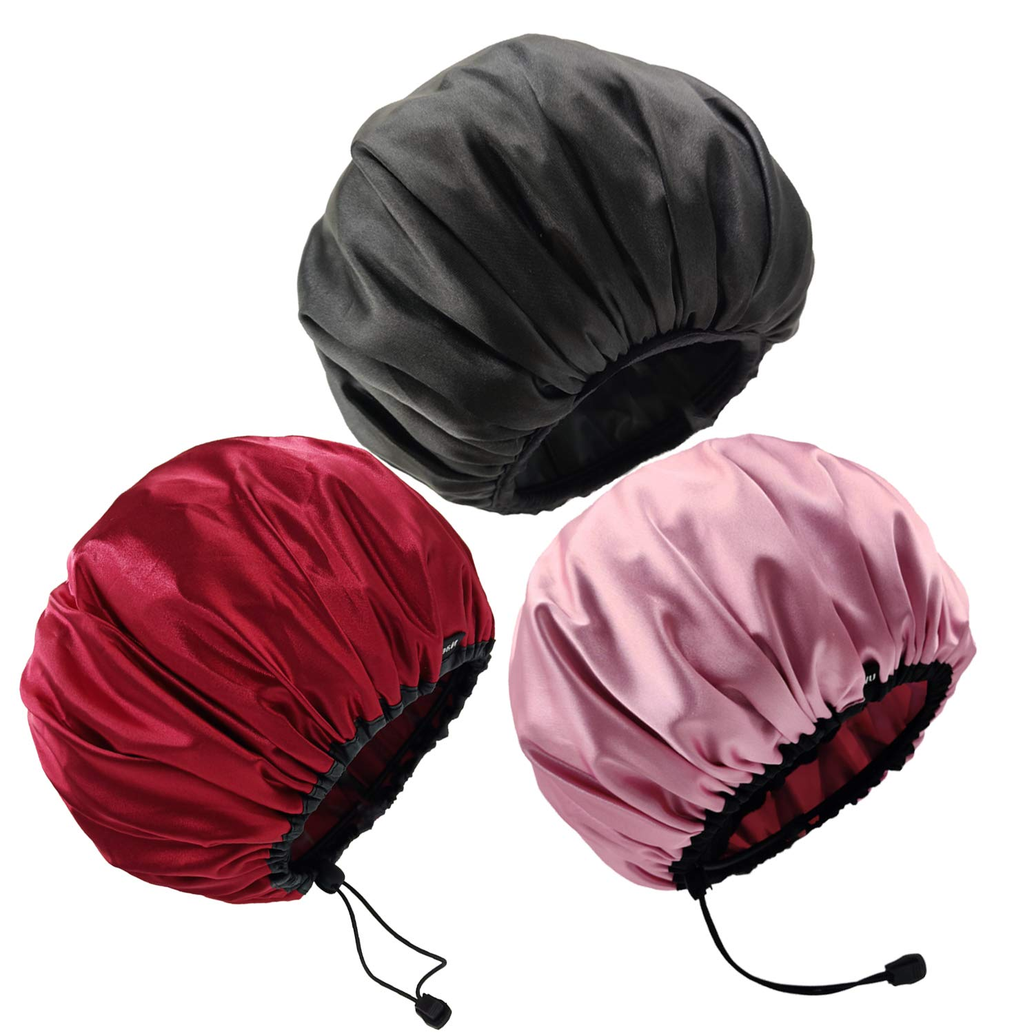 Extra Large Shower Caps For Women Adjustable Satin Bonnets Waterproof Plastic Xl For curly Long Hair Black Pink Burgundy