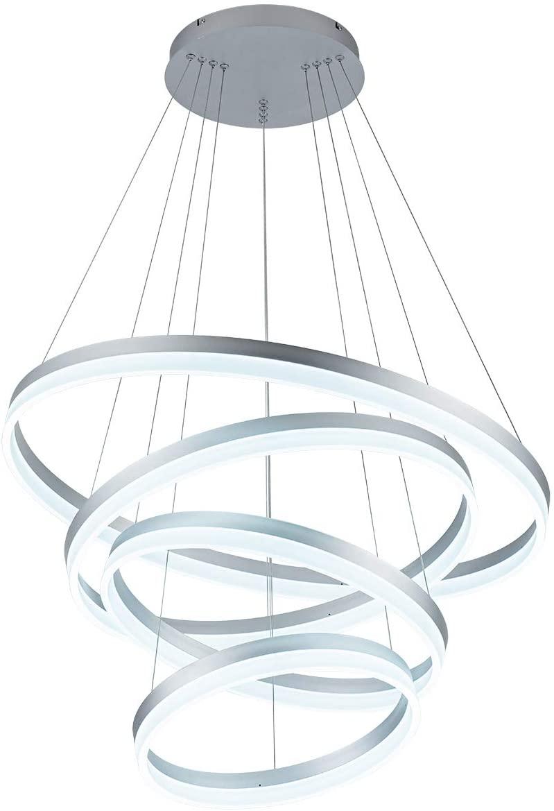 LED Modern Chandelier 4-Rings Circular Pendant Light Flush Mount Pendant Lighting for Living Room Dining Room, 6000k, Silver, by ROYAL PEARL