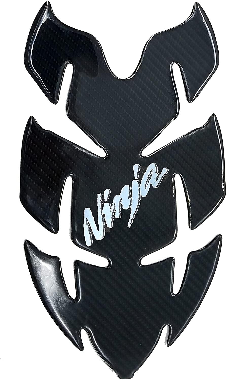 Horn Shape Chrome Real Carbon Fiber 3D Sticker Vinyl Decal Emblem Protection Gas Tank Pad for Kawasaki Ninja Series