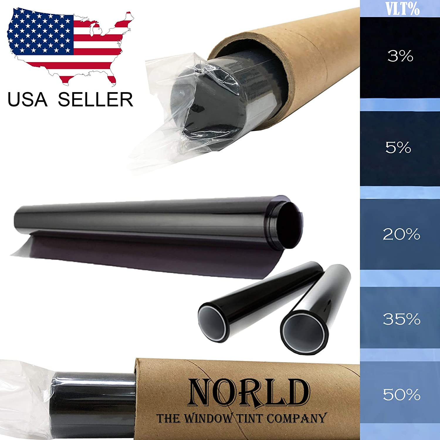 Norld 5% VLT 24 in x 60 in (2 Ft x 5 Ft) DIY Adhesive Window Tint Film Uncut Roll