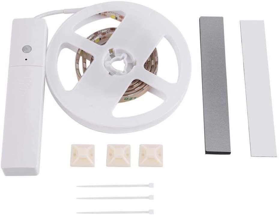Raguso Strip Motion Sensor Night Light High Brightness PIR Motion Sensor Flexible LED Strip Wireless Battery Powered Under Bed Closet Lamp Light(Pure White)