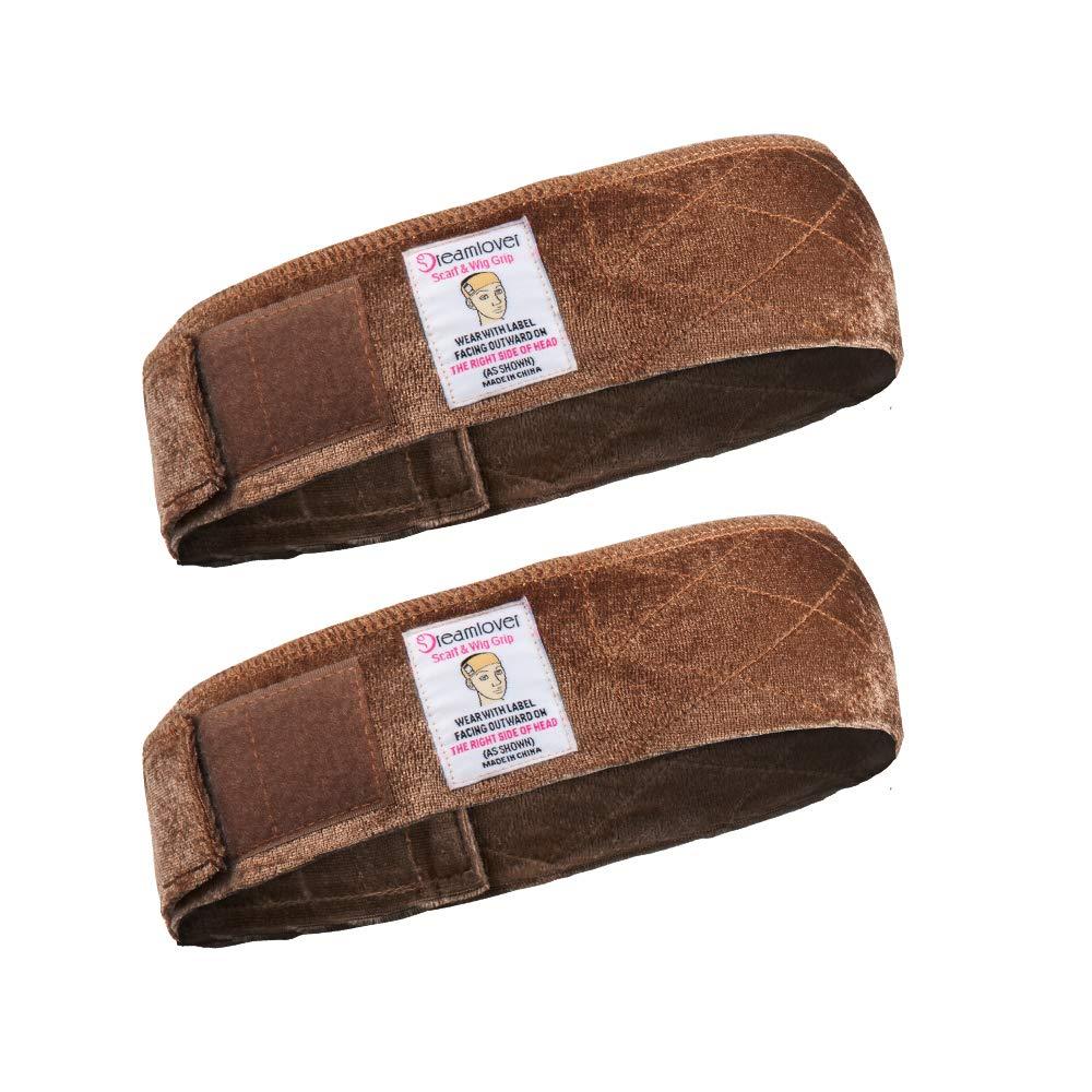 Dreamlover 2 Pack Elastic Wig Grip Headband, Adjustable Thin Velour Wig Scarf Hat Grip Band, Brown