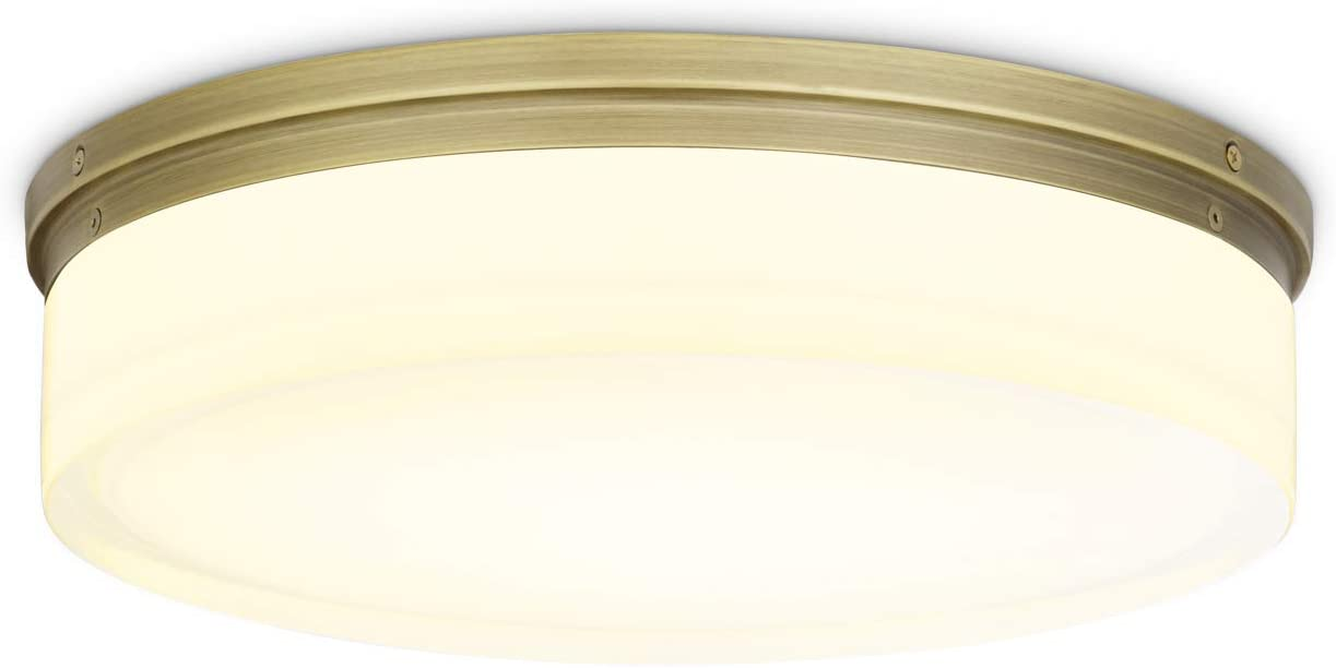 Brass Round Flush Mount Light, 14-Inch Glass, Large LED Ceiling Fixture, Dimmable, Damp Located - for Vanity, Bathroom, Bedroom, Kitchen, Living Room