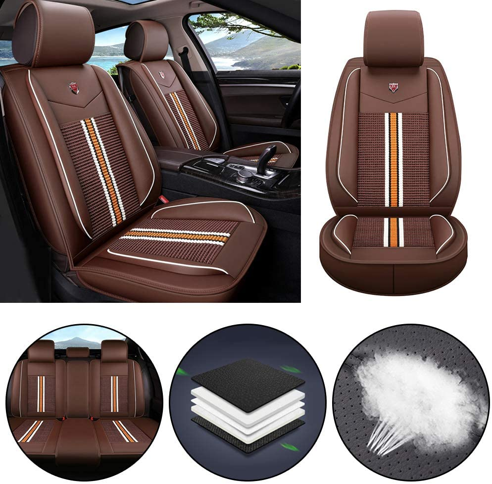 Jiahe Car Seat Cover for Chevrolet Equinox Malibu Colorado Captiva Lova Volt Universal Car Seat Protectors 5-Seat Full Set Artificial Leather Waterproof,Easy Install,Coffee Standard
