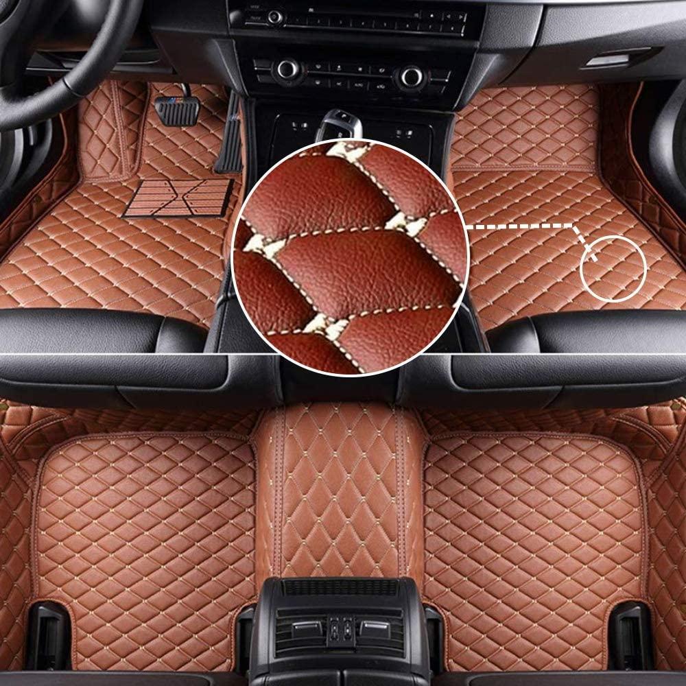 MyGone Car Floor Mats for Porsche Panamera 2017-2019 2018, Leather Floor Liners - Custom Fit Waterproof Comfort Soft, Front Rear Row Full Set Brown