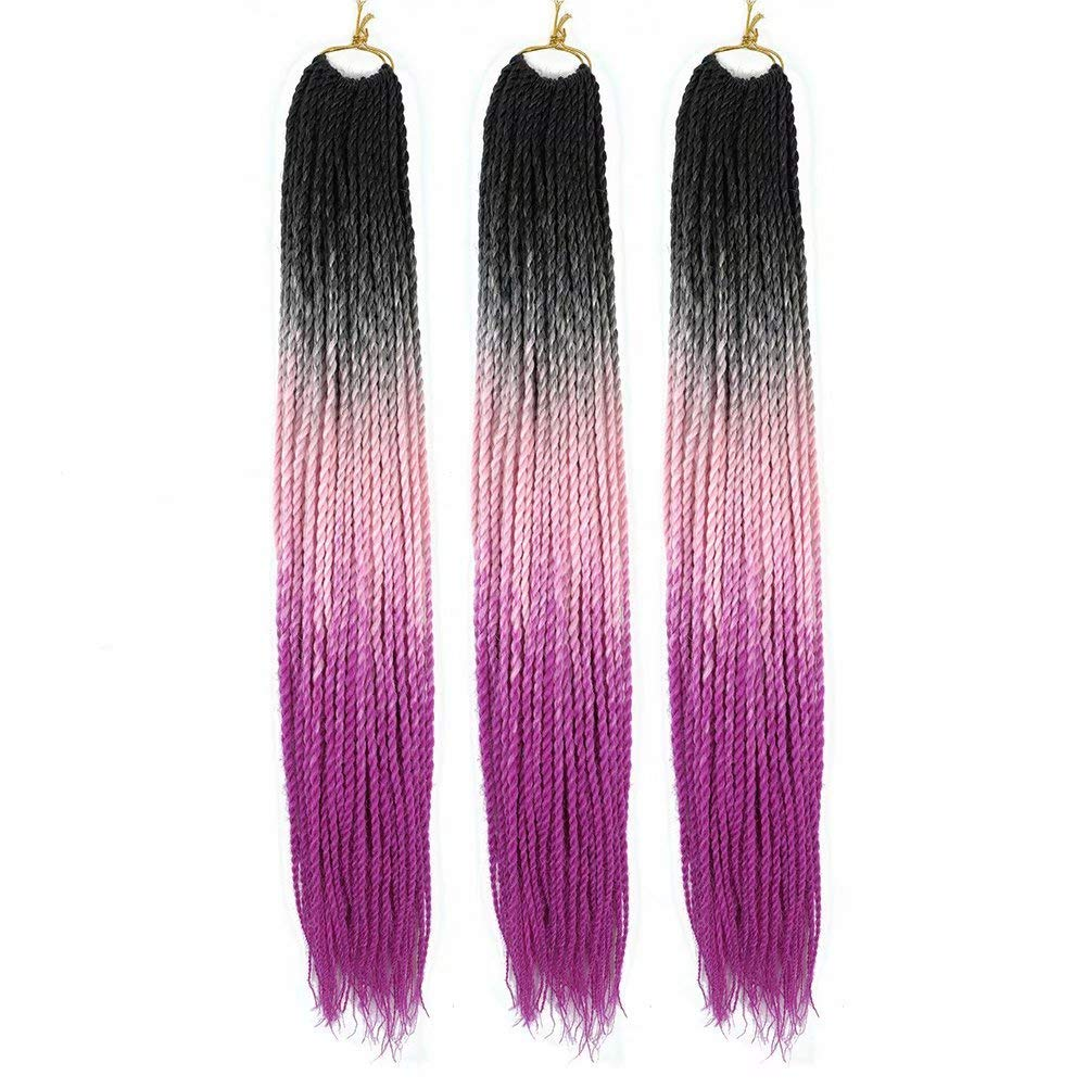 FEEL ME 3 Packs Senegalese Twist Crochet Hair Pre looped Synthetic Ombre Brading Hair Small Havana Mambo Twist Crochet Braids Senegalese Twist 100g/pack(90 strands,1b/pink/purple)