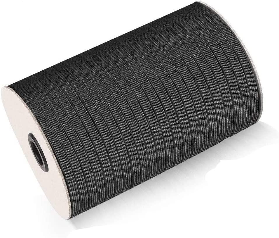 Elastic Band for Sewing Elastic Cord Braided Elastic Rope Elastic Spool Elastic String High Elasticity Knit Heavy Stretch for Sewing Crafts DIY Bedspread Cuff (1/4 inch 6mm 200 Yards Black)