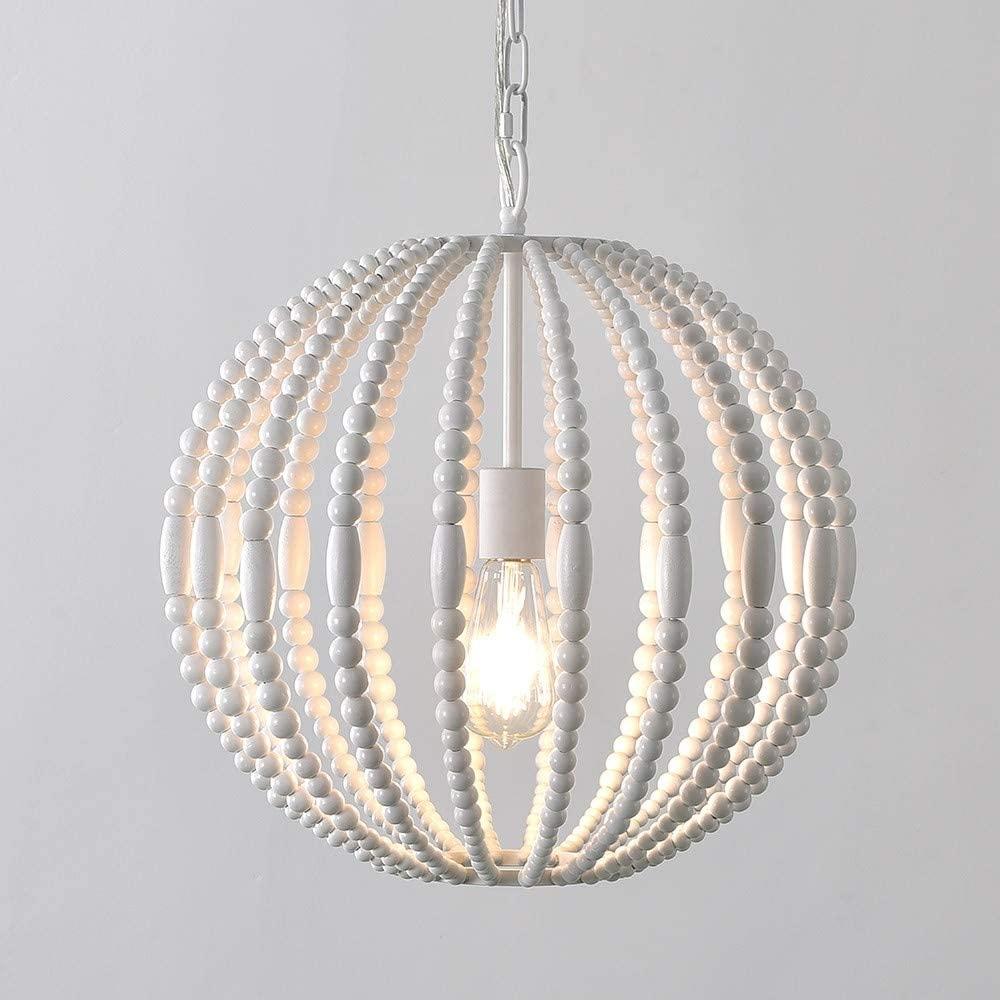 KunMai Modern Style 1-Light Pure White Wooden Bead Strand Metal Sphere Globe Pendant Light