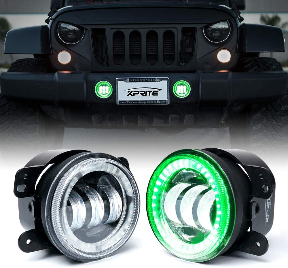 Xprite 4 Inch Led Fog Lights | 60W CREE LED Fog Light with Green Halo Ring Angle Eye DRL | Foglights for 07-18 Jeep Wrangler JK Off Road | Front Bumper Replacements Fog Lamps