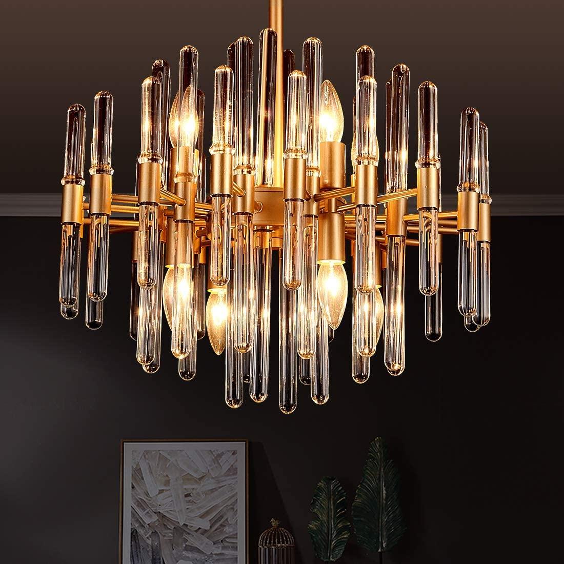 TZOE Modern Chandeliers,Crystal Chandelier,8 Light Round Pendant Light,Width 19 inch,Brass Metal + Clear Glass,Adjustable Height,UL Listed