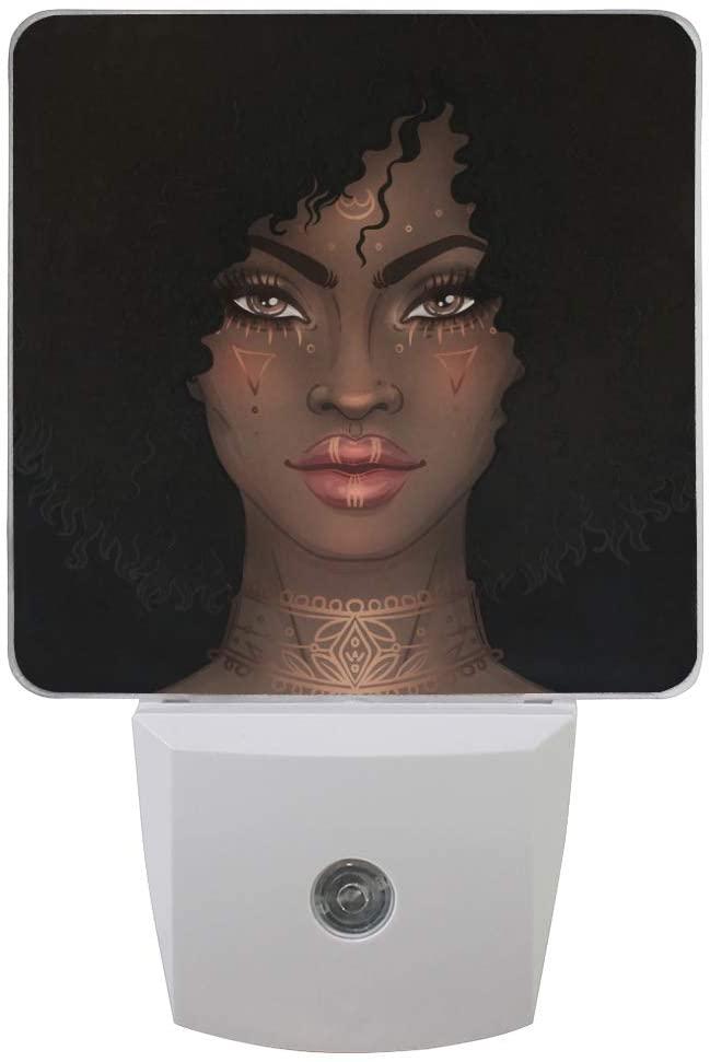 Set of 2 African American Black Women Auto Sensor LED Night Lights Plug-in Nightlight with Dusk to Dawn Sensor Soft White Glow for Kids Adults Room, Hallway Bathroom Kitchen