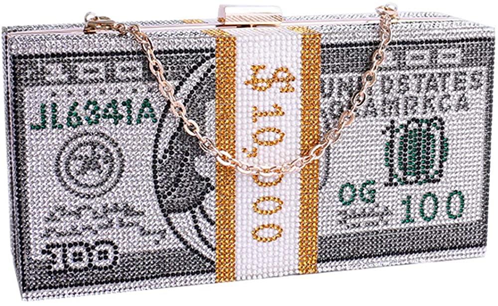 Dollars Crystal Clutch Purses for Women Evening Bags Sparkling Evening Handbags Hundred Dollar Bill Box Shine Crystal Purse