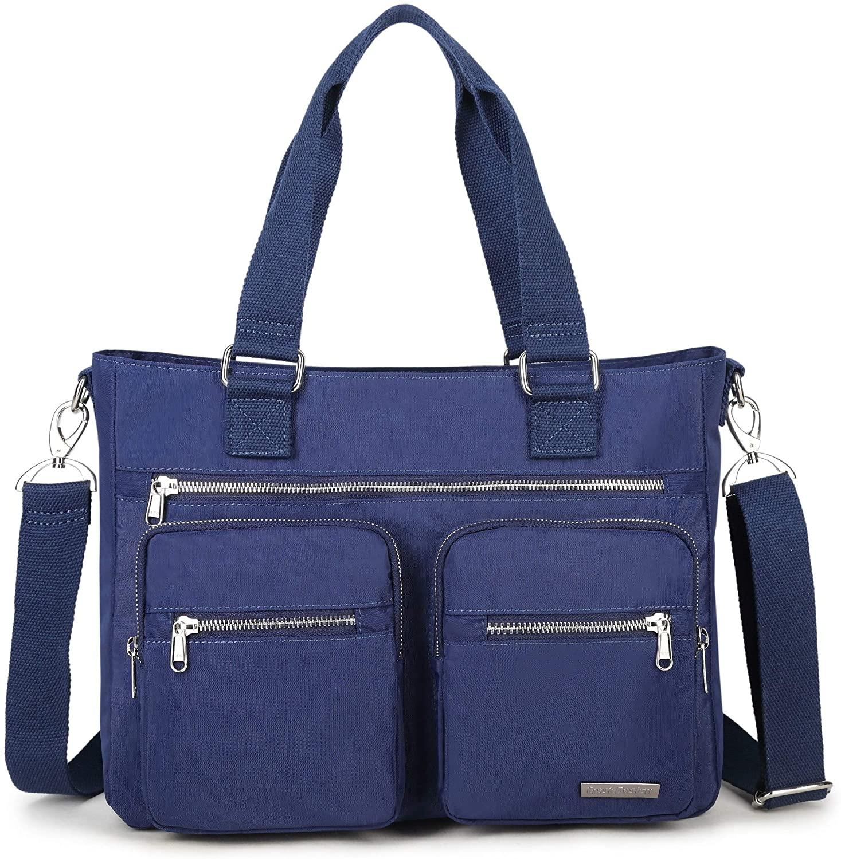 La Packmore Water Repellent Nylon Shoulder Bag Handbag Laptop Bag Teacher Nurse Tote Briefcase Clinical Bag (14 Inch, Navy)