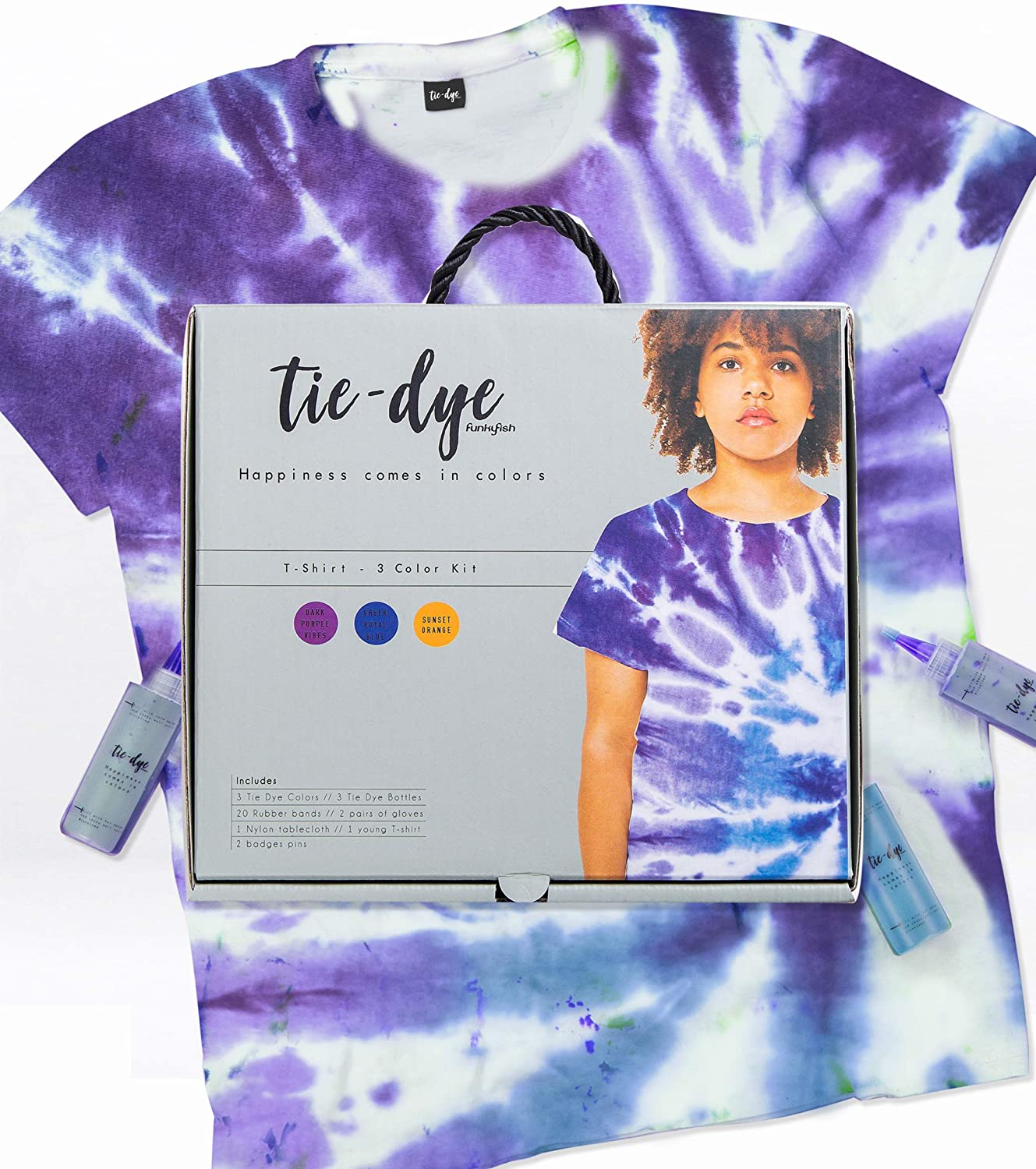 Tie Dye T-Shirt Kit For Kids, Fabric Dye For Clothing With All Supplies Included. Perfect Tie Dye Kit With Shirt, Home Activities For Adults And Kids, Set With All Tie Dye Ink And Decorating Techniques And Inspiration. Safe And Easy To Use. Rainbow Creative Kit With T-Shirt