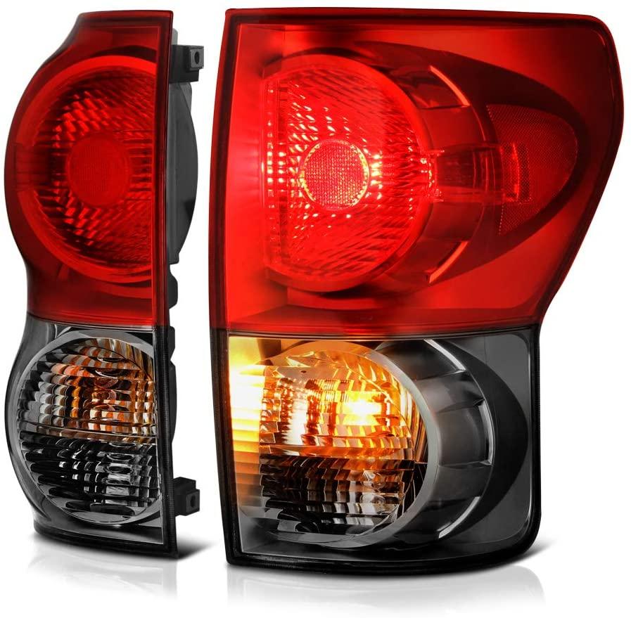 VIPMOTOZ Smoke Red Lens OE-Style Tail Light Lamp Assembly For 2007-2013 Toyota Tundra Pickup Truck, Driver & Passenger Side