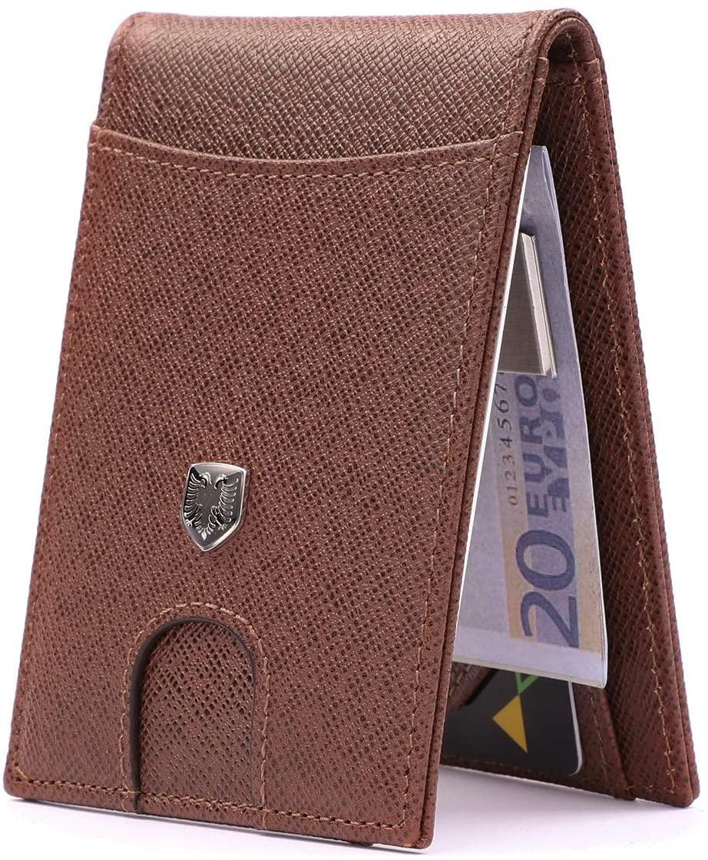 CHQEL Money Clip Leather Wallet - Mens Wallets Slim Front Pocket RFID Blocking Geniune Leather Card Holder Minimalist Bifold with Gift Box (Nevada Desert)