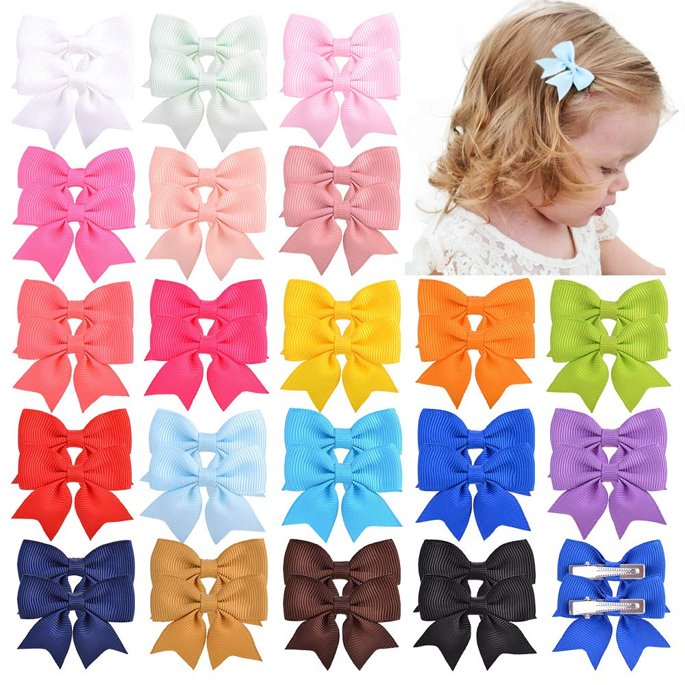40pcs Baby Girls 2inches Grosgrain Boutique Solid Color Ribbon Hair Bows Alligator Clips Hair Accessories for Teens Infants Kids Toddlers Children and Big Girls