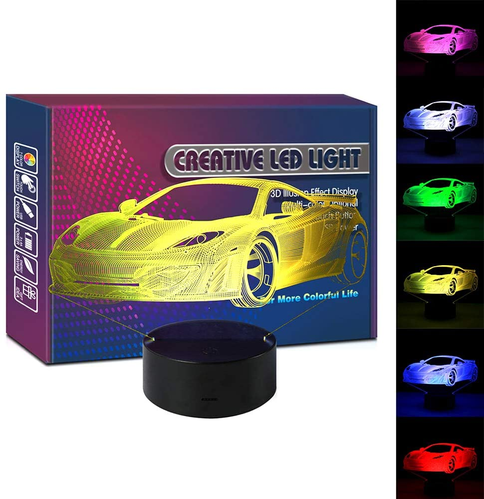 HIPIYA Car LED 3D Illusion Lamp USB Sports Vehicle Optical Night Light Christmas Present Birthday Gift for Little Baby Boy Boyfriend Man Fans Room Decoration Bedroom Decor (car)