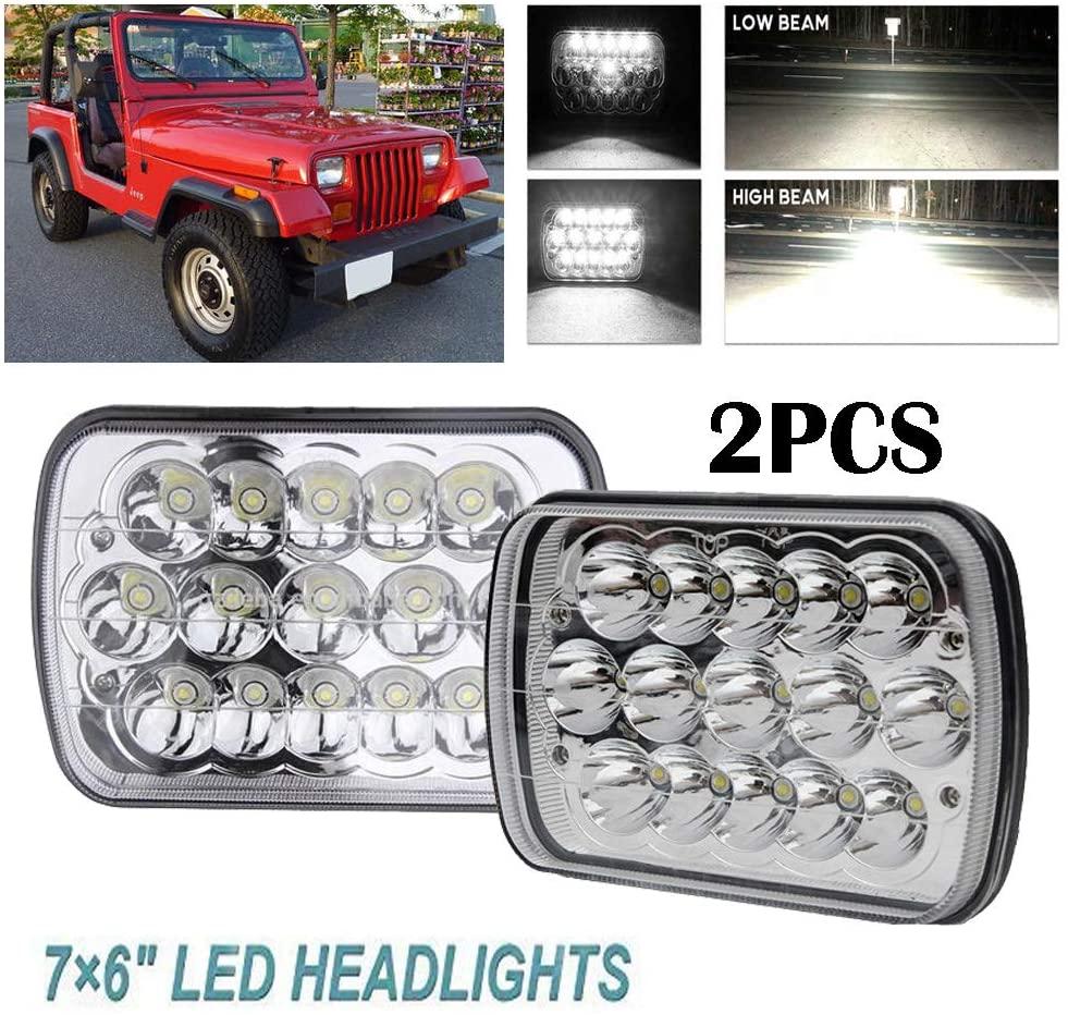 5x7 Inch Led Headlights 7x6 Hi/Low Led Sealed Beam Headlamp for Jeep Wrangler YJ Cherokee XJ MJ Comanche H4 Plug H6054 Headlights H5054 6054 6052 (1 Pair)
