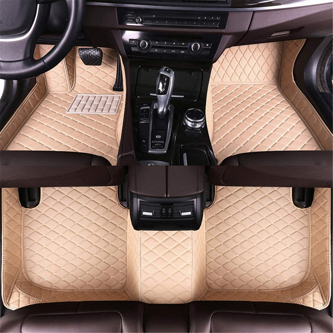 Muchkey CustomCarFloorMatsfor Cadillac SRX Ⅱ 2010-2016 Full Coverage All Weather Protection Waterproof Leather Liner Set Beige