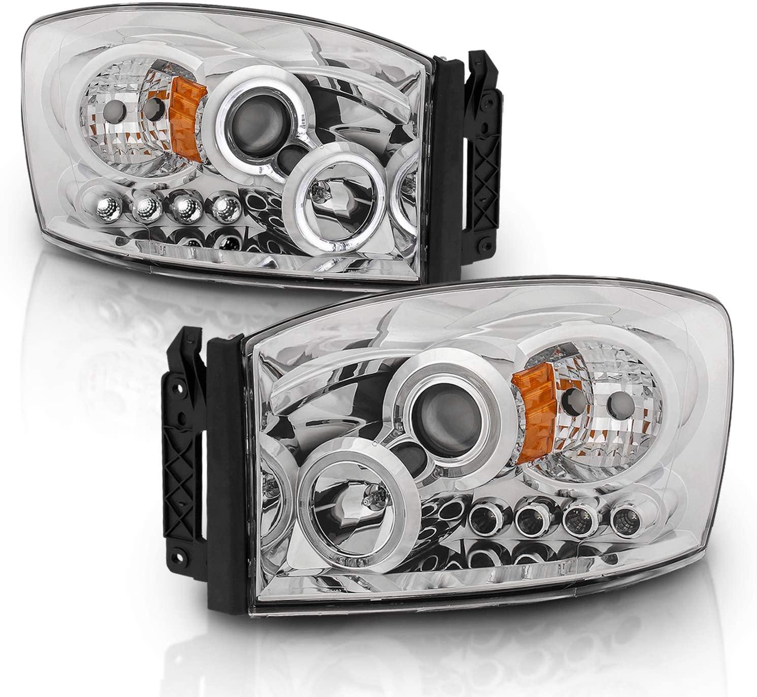 AmeriLite Chrome Projector Headlights LED Halo for Dodge Ram - Passenger and Driver Side