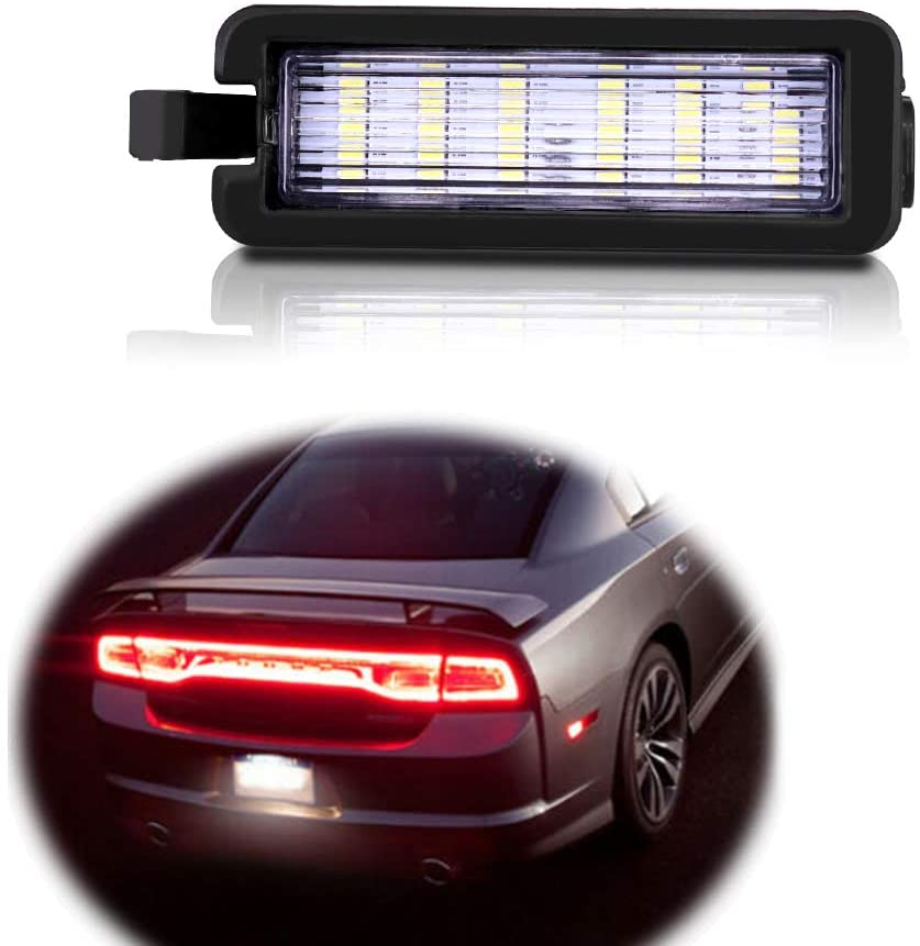 GTINTHEBOX 3W Full LED License Plate Light for 2015-2019 Dodge Charger Challenger Pacifica Jeep Compass,Powered by 18-SMD Xenon White LED,1-Piece Kit