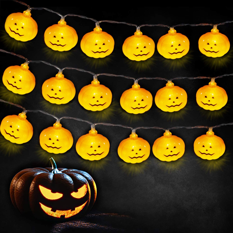 JIELIELE Halloween Pumpkin String Lights, 10ft 20 LEDs Twinkle Lights Battery Operated, Orange String Lights for Halloween, Thanksgiving, Christmas, Fall Decor Indoor Outdoor