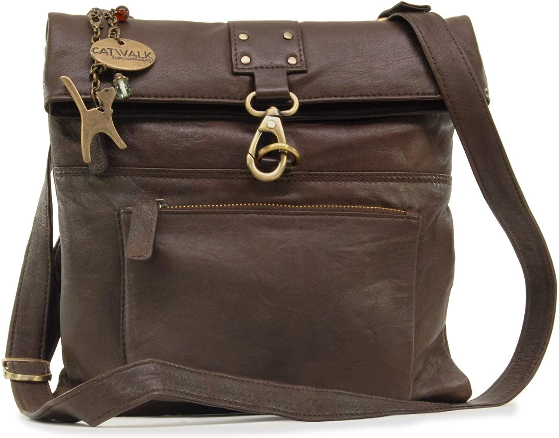 Catwalk Collection Handbags - Ladies Leather Cross Body Bag - Adjustable Shoulder Strap - DISPATCH