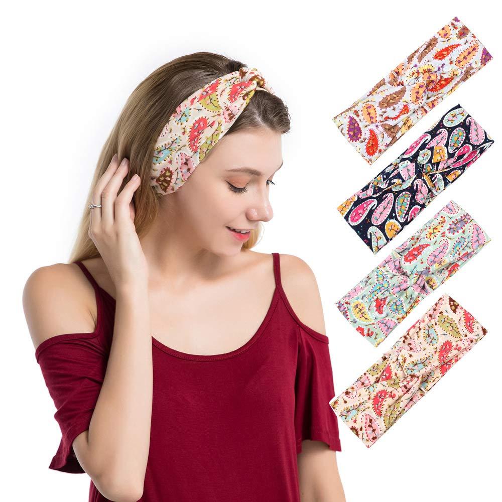 DINPREY Women's Wide Bandana Headwrap Stretch Yoga Sweatband Turban Criss Cross Head Wrap Twist Head Bands for Women (4 Pack Paisley Printed Style D)