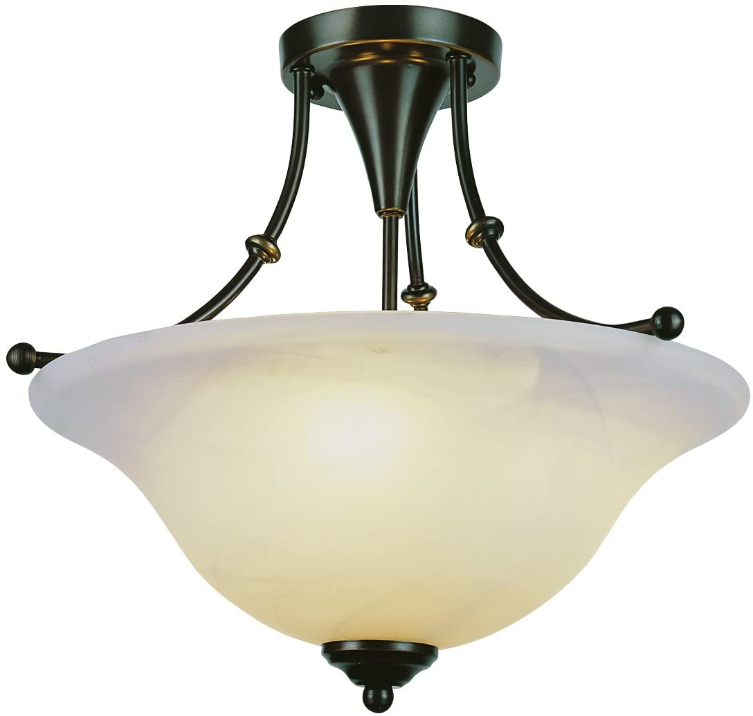 Trans Globe Imports 6540 WB Transitional Three Light Semi Flush Mount from Perkins Collection Dark Finish, 18.00 inches, 15