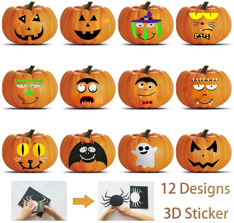 Halloween 12 Designs 3D Pumkin Stikcers Halloween Party Decorations Wall Window Room Stickers-EVA Material