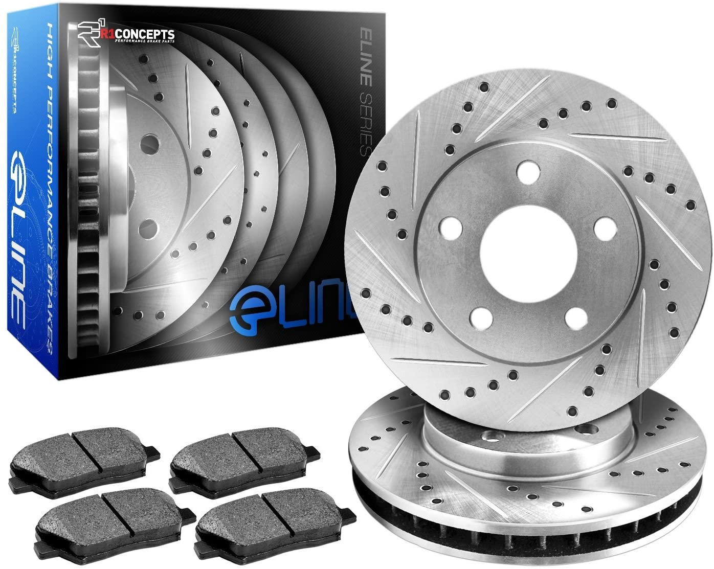 R1Concepts KEDS10776 Eline Series Cross-Drilled Slotted Rotors And Ceramic Pads
