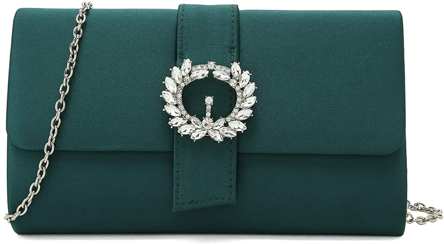 Charming Tailor Evening Bag Diamantes Embellished Satin Clutch Purse for Woman Classy Party Handbag with Beaded Brooch