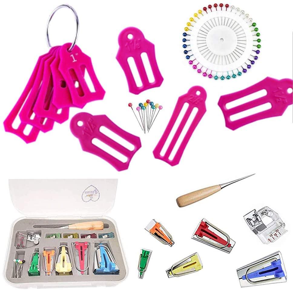 HONEYSEW Single Double Fold Bias Tape Maker Tool Kit Set Fabric Jelly Roll Sasher Tool Set Tools Folding Fabric and Biasing Strips 15sizes