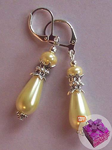 Pastel Yellow Glass Pearl Teardrop Earring Sp Lever Back Artisan Earrings For Women Set + Gift Box For Free