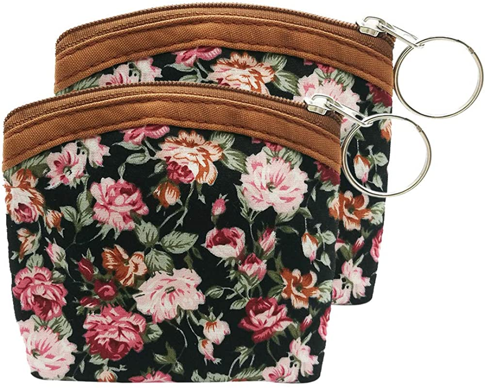 2 Pack Floral Coin Purse with Key Ring Vintage Change Purse Coin Pouch Cute Zip Mini Wallet Card Holder
