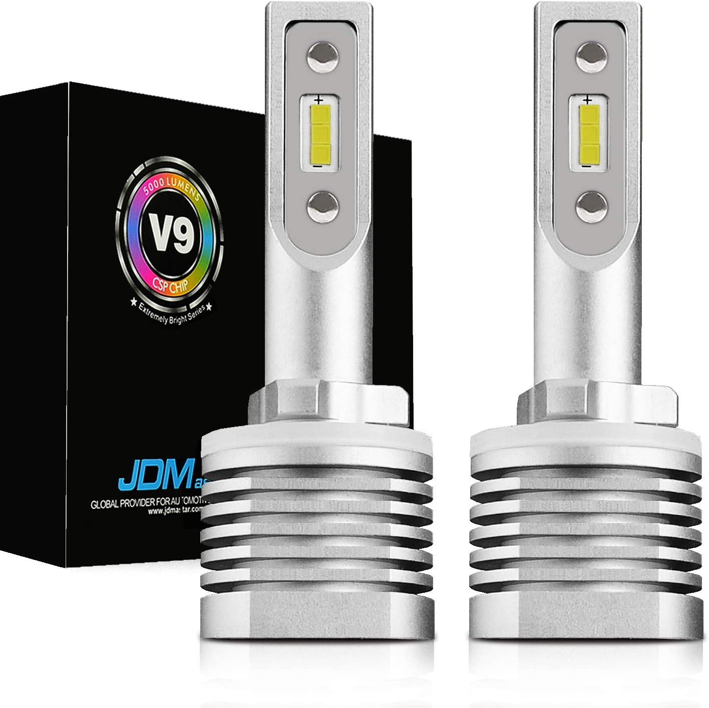 JDM ASTAR High Performance 1:1 Fanless Design Precision Lux Beam 881 White LED Fog Light Bulbs-Focused Beam Pattern no Diffused and Glare