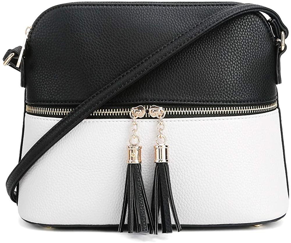 SG SUGU Lightweight Medium Dome Crossbody Bag Shoulder Bag with Tassel | Zipper Pocket | Adjustable Strap