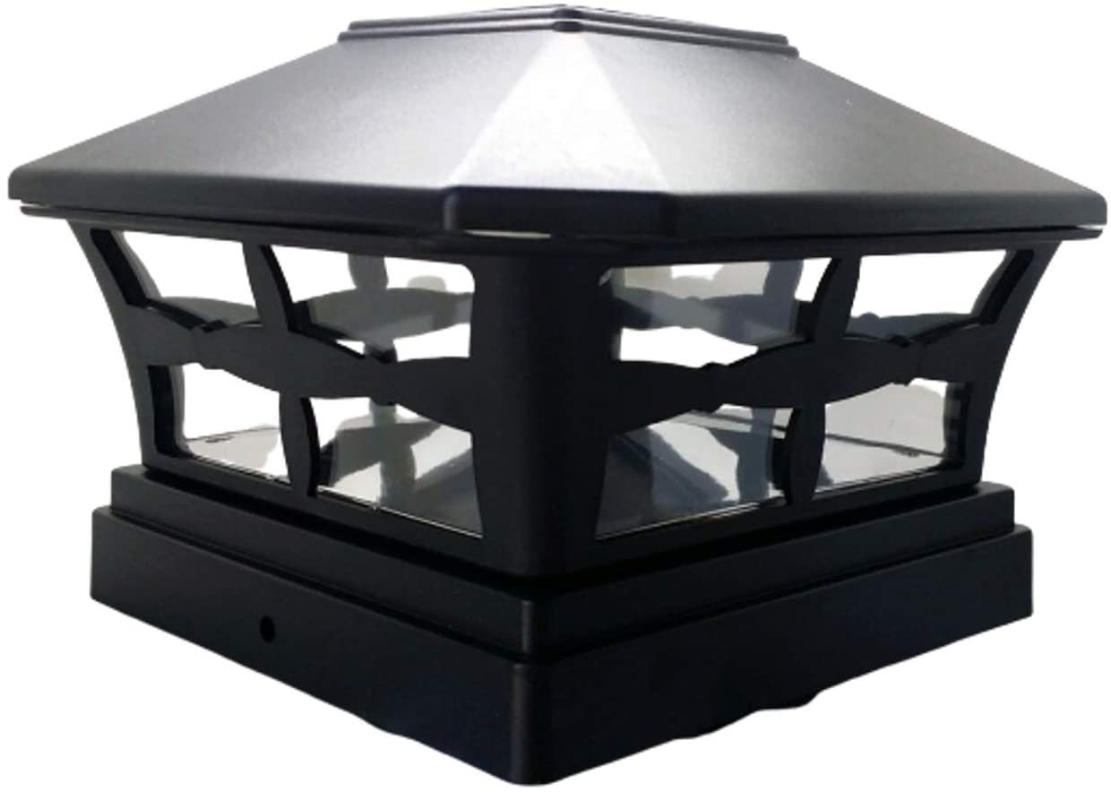 Exquisite Selebrity Solar Black Finish Post Deck Fence Cap Lights for Vinyl/PVC or Wood Posts with White LEDs and Clear Lens 4X4 5X5 6X6 INCHES (2 Pack 4X4
