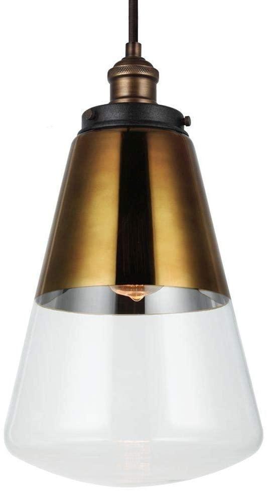 Feiss P1373PAGB/DWZ Waveform Glass Pendant Lighting, Brass, 1-Light (10