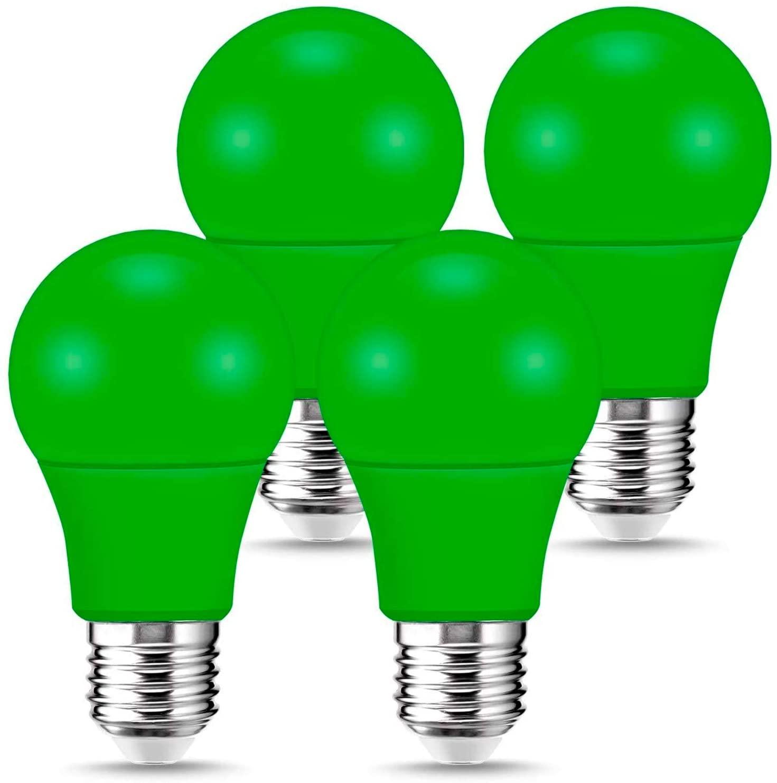 LOHAS Green Light Bulbs 60 Watt Equivalent, E26 Medium Base 9W Color LED Bulb, A19 Decorative Illumination Birthday Party LED Light Bulbs for Porch, Hallway, Christmas, Holiday, 4 Pack