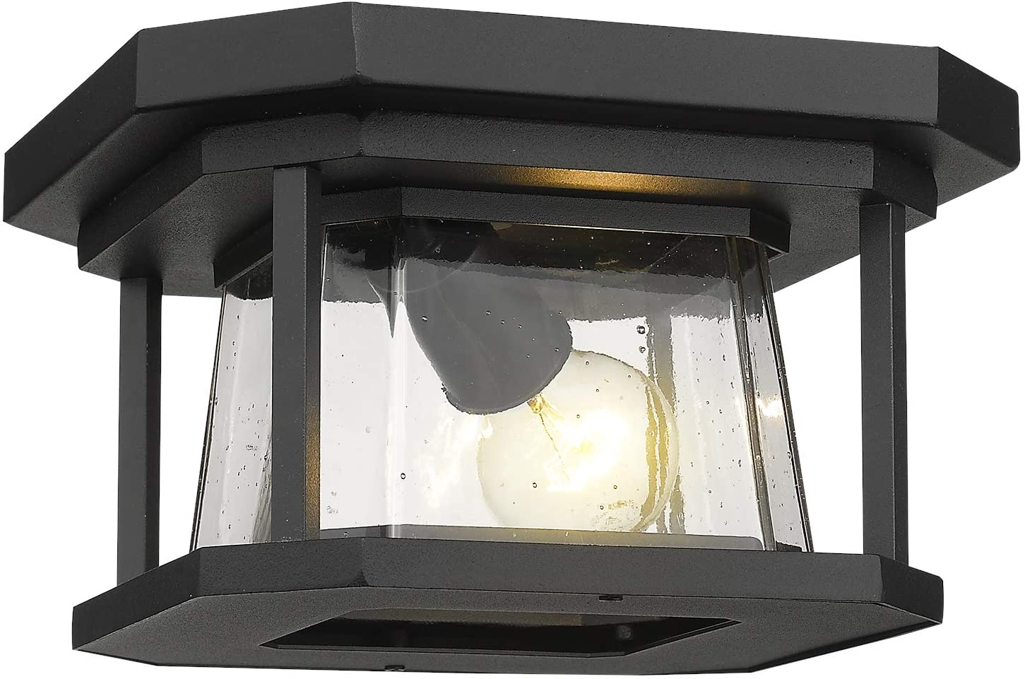 Zeyu 12 Inch Ceiling Light Fixture, Black Flush Mount Ceiling Light, Seeded Glass Shade, ZW02-F BK