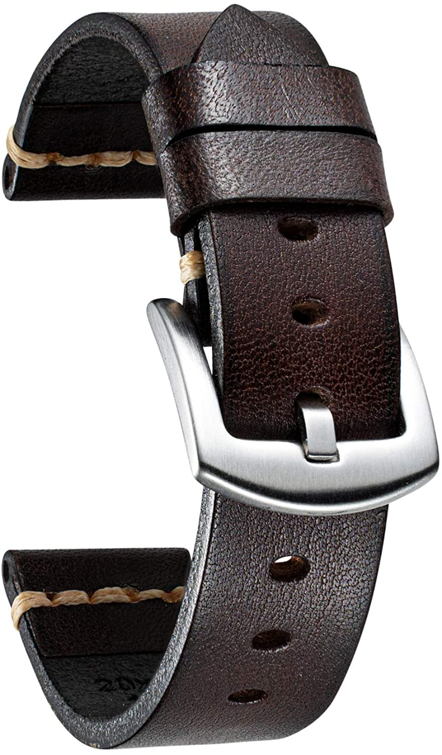 BINLUN Replacement Vintage Rubbing Vegetable Tanned Leather Watch Strap in 5 Sizes (18/20/22/24/26mm) and 7 Colors with 2-Colors Stainless Pin Buckle and Adjustment Tool