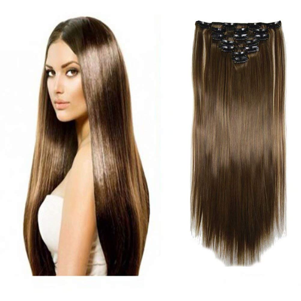 iLUU 7 Pcs Set 22Inch Full Head Clip in Hair Extensions 16Clips Highlights Hair Pieces Long Straight Japanese Heat Resistent Synthetic Hair Extensions for Women 100g (4/27, Dark Brown/Blonde)