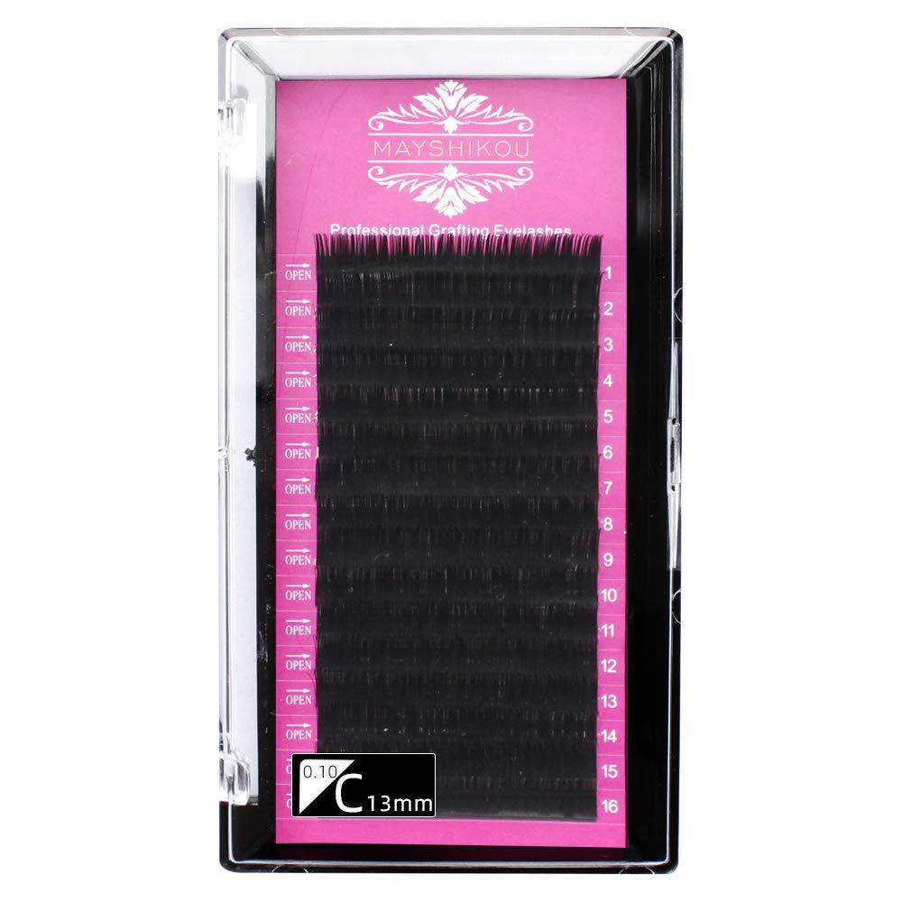 False Eyelashes 16 Rows/Tray Individual lashes Fake Eyelash Extension Natural Faux Mink Hair Curl B/C/D/J Thinkness 0.10/0.12/0.15mm Lenght 8/9/10/11/12/13/14/15mm (Crul C 0.10mm, 13mm)