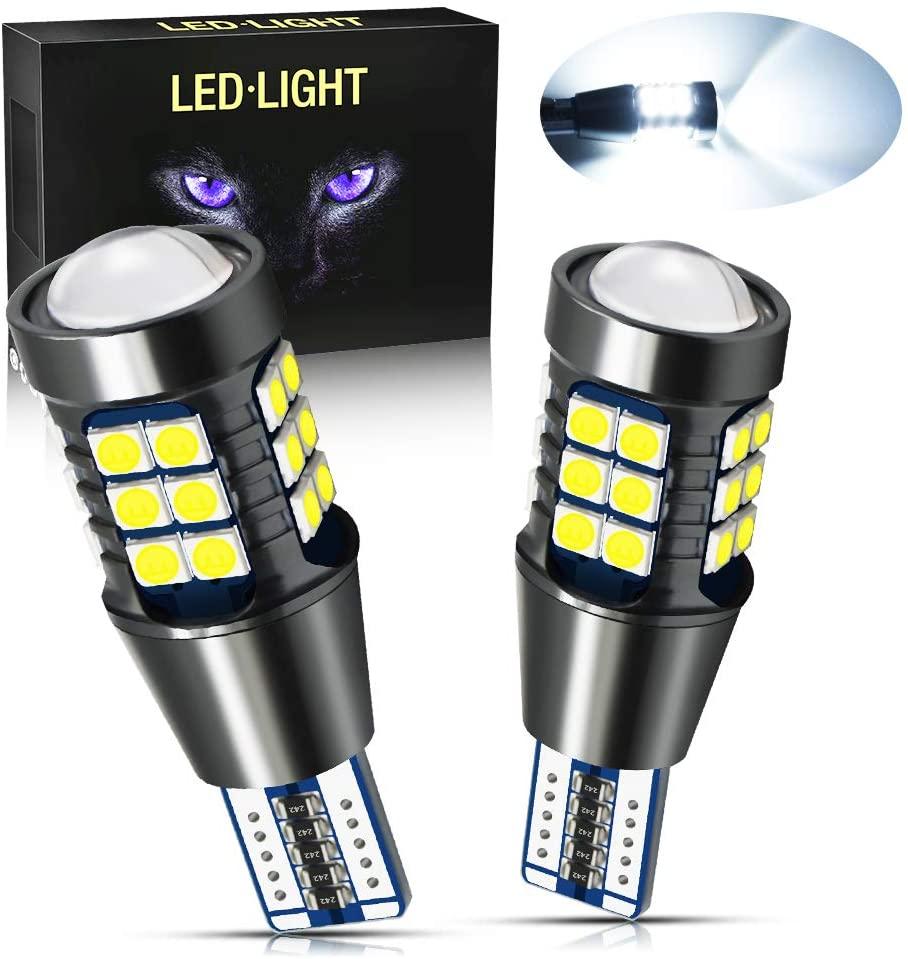 YEERON 2PCS 921 912 T15 LED Reverse Lights 1500LM Super Bright 27SMD-3030 Chips W16W 904 906 LED Bulbs For Car Truck Backup Lights,DC/AC 9-36V,6000K Xenon White.