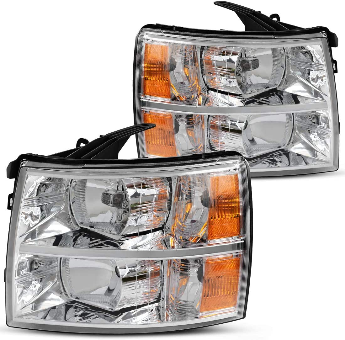 DWVO Headlight Assembly Kit Compatible with 2007-2014 Chevy Silverado Headlamp Replacement, Driver and Passenger Side,Chrome Housing Amber Reflector